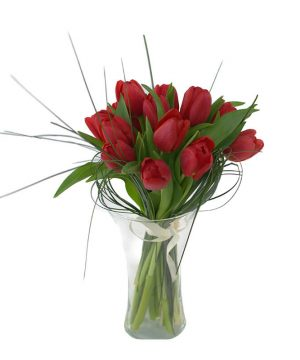 Buchet pasional cu 15 lalele roșii