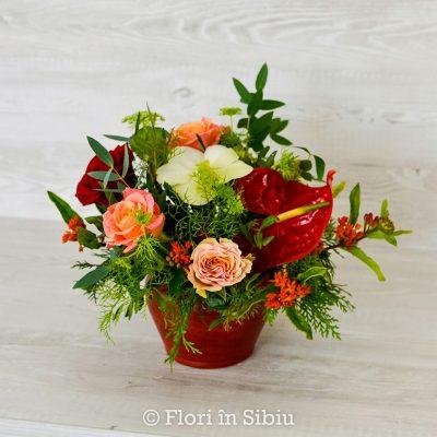 aranjament de flori cu anthurium