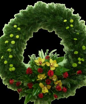 Coroană rotundă cu flori naturale